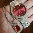 Hip Hop Luxury Iced Out Lab Diamond Red Dial Watch & Red Ruby Necklace Combo Set image
