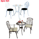 3 Pieces Bistro Set Outdoor Garden Table And Chairs Cast Aluminium Bronze/white