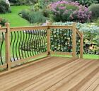 Black Metal Spindles. Curved Decking Panels. Wavy Steel Garden Fence Railings