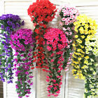 2pcs Hanging Wall Artificial Fake Silk Violet Orchid Flowers Rattan Plant Basket