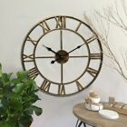 DIY 3D Wall Clock Sticker Metal Watches Roman Numeral Silent Decorative For Room