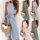 Summer Womens Striped Sleeveless Jumpsuits Wide Leg Rompers Holiday Playsuits
