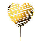 Party Decoration Gold Acrylic Love Heart Glitter Happy Birthday Cake Topper New
