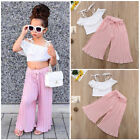 Toddler Kid Baby Girls Off Shoulder Crop Top Wide Leg Pants 2Pcs Outfits Clothes