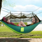 Outdoor Double Person Travel Camping Hanging Hammock Bed With Mosquito Net Green