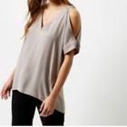 Ladies New Ex River Island Grey cold shoulder blouse size 6 8 10 12 14 16 18