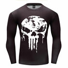 Punisher The Skull Screen Printed Long Sleeve Gym Body Fit Bodybuilding T-Shirt