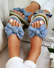 Womens Slip On Sandals Bow Flat Mule Summer Sliders Espadrille Shoes Sizes New