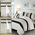 White Jacquard Quilted Bedding Set Faux Silk Bedspread Comforter Set & Curtains image