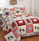 Queen or King Quilt Set Patchwork Print Country Tree Sheep Red Stars Bedding image