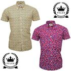 Relco Mens Abstract Psychedelic Geometric Short Sleeve Shirt Button Down Collar