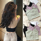 V-Neck Stretchy Fitted Built-in Bra Backless Shirt Tank Top Cami Crop Top