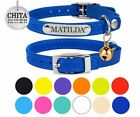 Personalized Leather Cat Collar Safety Kitten Collars with Elastic Strap Bell