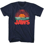 Jaws Shark Sunset Men's T Shirt Attack Bite Swimmer Horror Movie Merch Navy