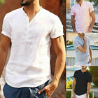 Fashion Men's Linen Short Sleeve T Shirt Casual Loose V Neck Basic Tee Tops image