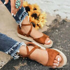 Women Flat Espadrille Ankle Strap Summer Sandals Casual Beach Peep Toe Shoe Size