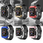 For Apple Watch Series 5 4 44mm 40mm TPU Rugged Bumper Case W/ Watch Bands Strap image