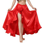 Belly Dance Skirt Satin Split Side Long Skirts for Women