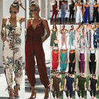 Women sleeveless strap wide legs Bodycon Boho Jumpsuit Romper Trousers Clubwear