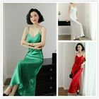 Ladies Satin Dresses Slips Faux Silk Long Strappy Nightdress Petticoats Camisole