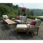 7 Piece Teak Wood Outdoor Patio Set Garden Cushion Furniture (choose Color)