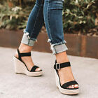 Womens Platform Sandals High Wedge Heel Espadrille Ankle Strap Summer Shoes Size