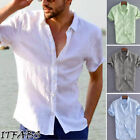 Luxury Men Short Sleeve Casual Loose Cotton T-shirt Dress Shirt Blouse Tops Tee image