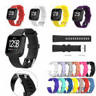 US For Fitbit Versa Versa Lite Silicone Stainless Steel Watch Band Wrist Strap x image