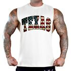 Men's US Flag Texas Workout T-Shirt Tank Top America USA July 4 State Home B1580 image