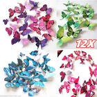 12x Pack 3d Butterfly Wall Stickers Home Room Decoration Decor Window  Art Decal
