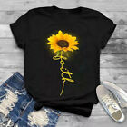 Womens Sunflowers Short Sleeve Tops Shirts Ladies Summer Casual Blouse T Shirt