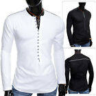 Mens Henley Shirt Crew Neck Collarless Long Sleeve Casual Holiday Slim Fit Loops
