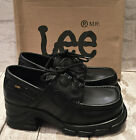 LADIES BLACK LEATHER CHUNKY MID HEEL LEE LACE UP SHOES WORK SCHOOL