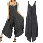 UK Womens Strappy Striped Baggy Harem Cami Jumpsuit Lagenlook Playsuit Trousers