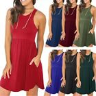 Women's Sleeveless Loose Plain Dresses Casual Short Dress with Pocket for Summer