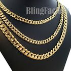 Hip Hop Rapper's 14K Stamped Gold plated 6 / 7 / 10mm Miami Cuban Chain Necklace