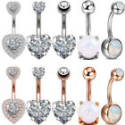 Opal CZ Navel Belly Button Ring Surgical Steel Bar Barbells Body Piercing 14G image