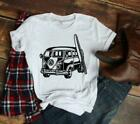 Hippie Surfer Van Men's and Women's White T-shirt .  Makes a great gift