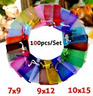100 Pcs Organza Wedding Party Favour Gift Candy Bags Large Small Jewellery Pouch
