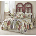 BEAUTIFUL COZY SHABBY CHIC PATCHWORK ROSE PINK GREEN BLUE BEDSPREAD QUILT SET image
