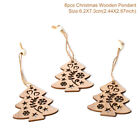 6 PC Christmas Snowflakes Wooden Pendants Xmas Tree Ornaments Home Hanging Decor