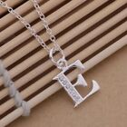 "Initial A-Z Letter Pendant Necklace 925 Sterling Silver CZ Personalized 18"" N162"