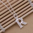 Initial A-Z Letter Pendant Necklace 925 Sterling Silver CZ Personalized 18