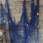 2 Pack Nautical Fish Net With Sea Shells Mediterranean Style Backdrop Home Decor