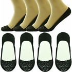Womens 3-12 Pairs Lace Hearts No Show Liner Loafer Invisible Nonslip Boat Socks