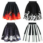 Xmas Halloween Party Piano Flames Moon A-Line Flared Knee Length Pleated Skirt