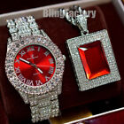 MENS ICED HIP HOP SILVER PT TRENDY BLING WATCH & ICED RED GEMSTONE NECKLACE SET  image