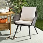 2pcs Outdoor Patio Garden Pe Rattan Wicker Dining Chairs Set With  Beige Cushion