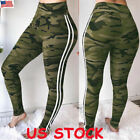 US Women Stretch Pants High Waist Camouflage Trousers Yoga Leggings Casual Pants