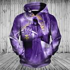 Minnesota Vikings Hoodies 3D Death Skull Halloween Horror Sweatshirt Pullover on eBay